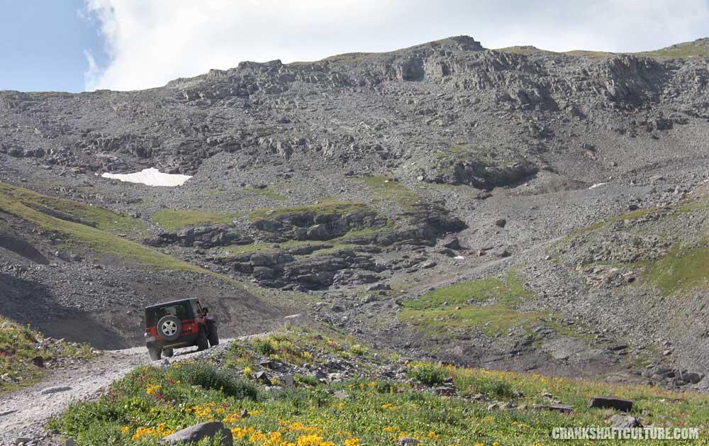 Jeep Wrangler going up Imogene Pass