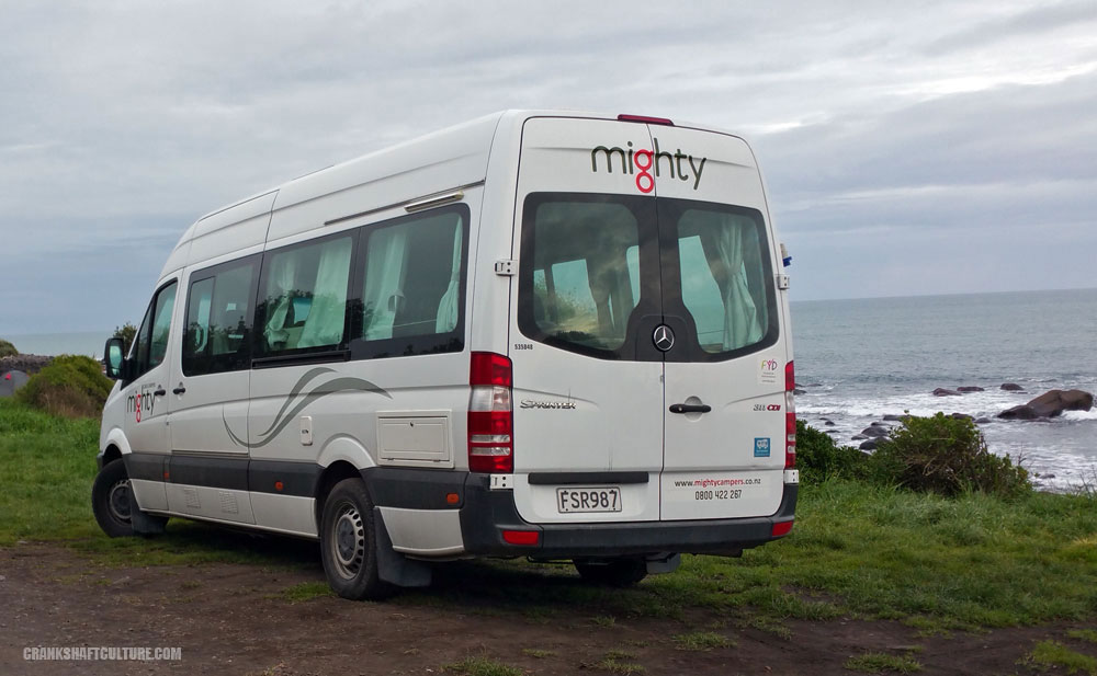 Campervan by the Tasmin Sea in New Zealand