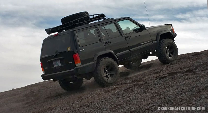Jeep Cherokee on Yokhama Tires on gravel