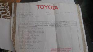 1971 Toyota Hilux Window Sticker