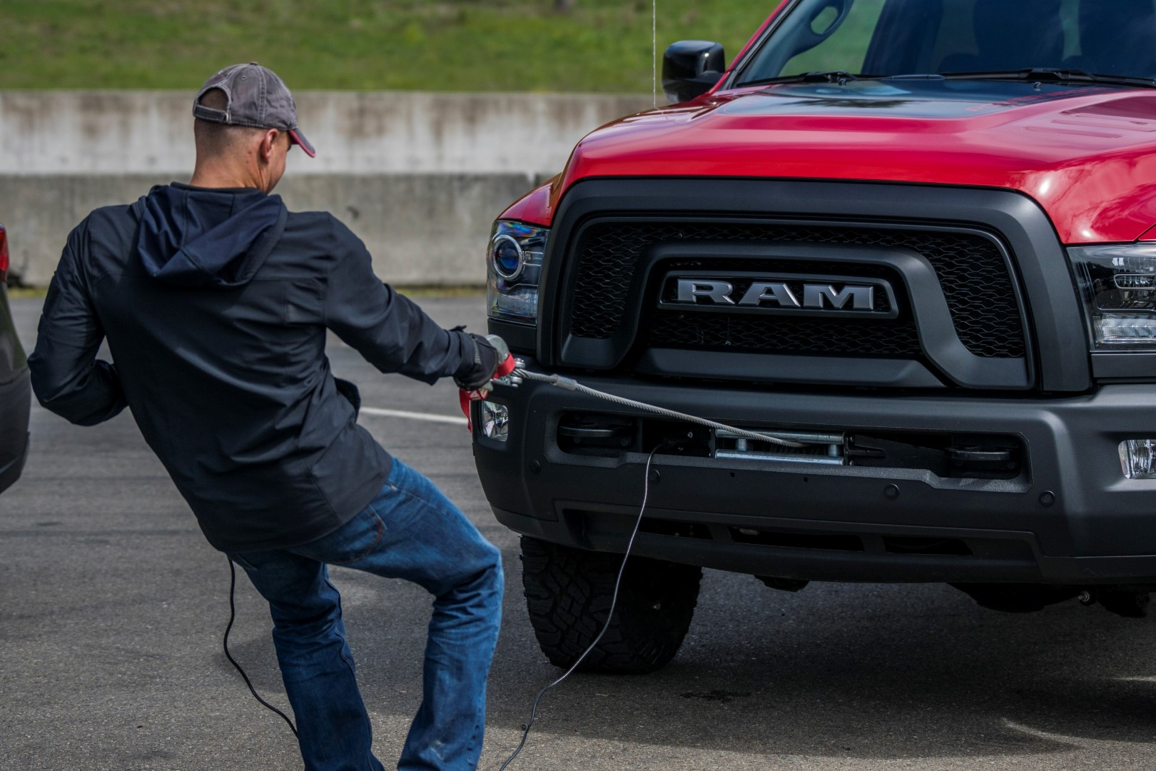 Pulling the RAM Power Wagon's WARN winch.