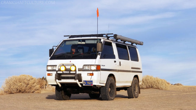 Mitsubishi Delica, ARB awning, Yokohama AT tires, Yakima roof rack system, Bomber Product's Awn-Lock awning mounts
