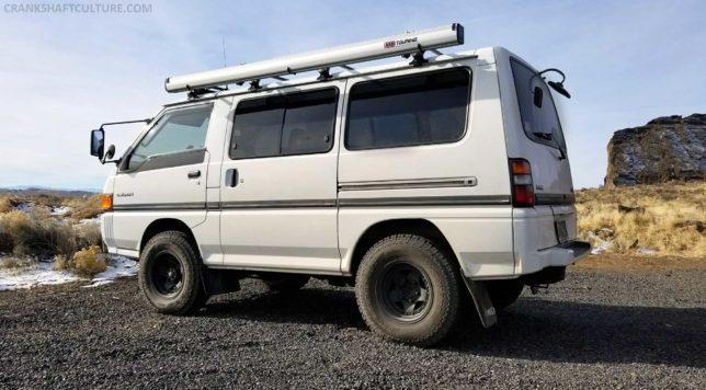 Our Mitsubishi Delica at Fort Rock, Oregon.