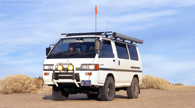 Our Delica conquering the Christmas Valley Dunes in Oregon, well, at least not sinking in it!