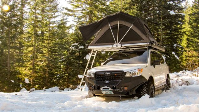Freespirit Roof Top Tent on a Subaru Forester