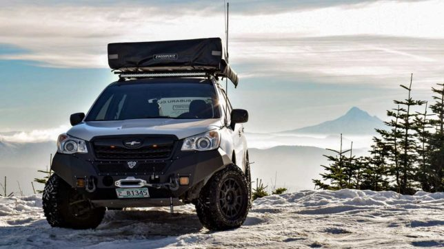 Eric Green's Forester with Mt. Hood in the background