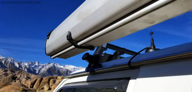 The ARB awning is held on via Bomber Product's Awn-Locks and our Yakima round bar rack system.
