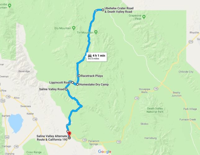 Map of our Death Valley recommended route.