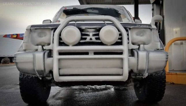 Snow covered Mitsubishi Pajero
