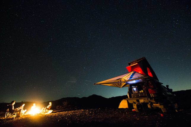 Camping at night with Toyota Tacoma