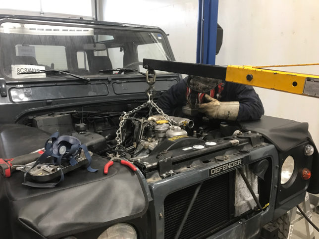 Welding new engine mounts on Chris' Land Rover Defender 90.