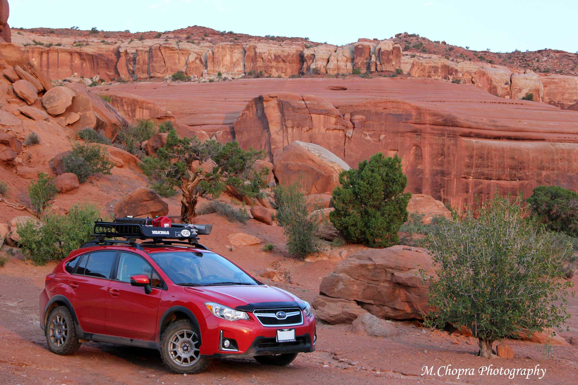 Marlon's Subaru Crosstrek on a trail in Moab, UT