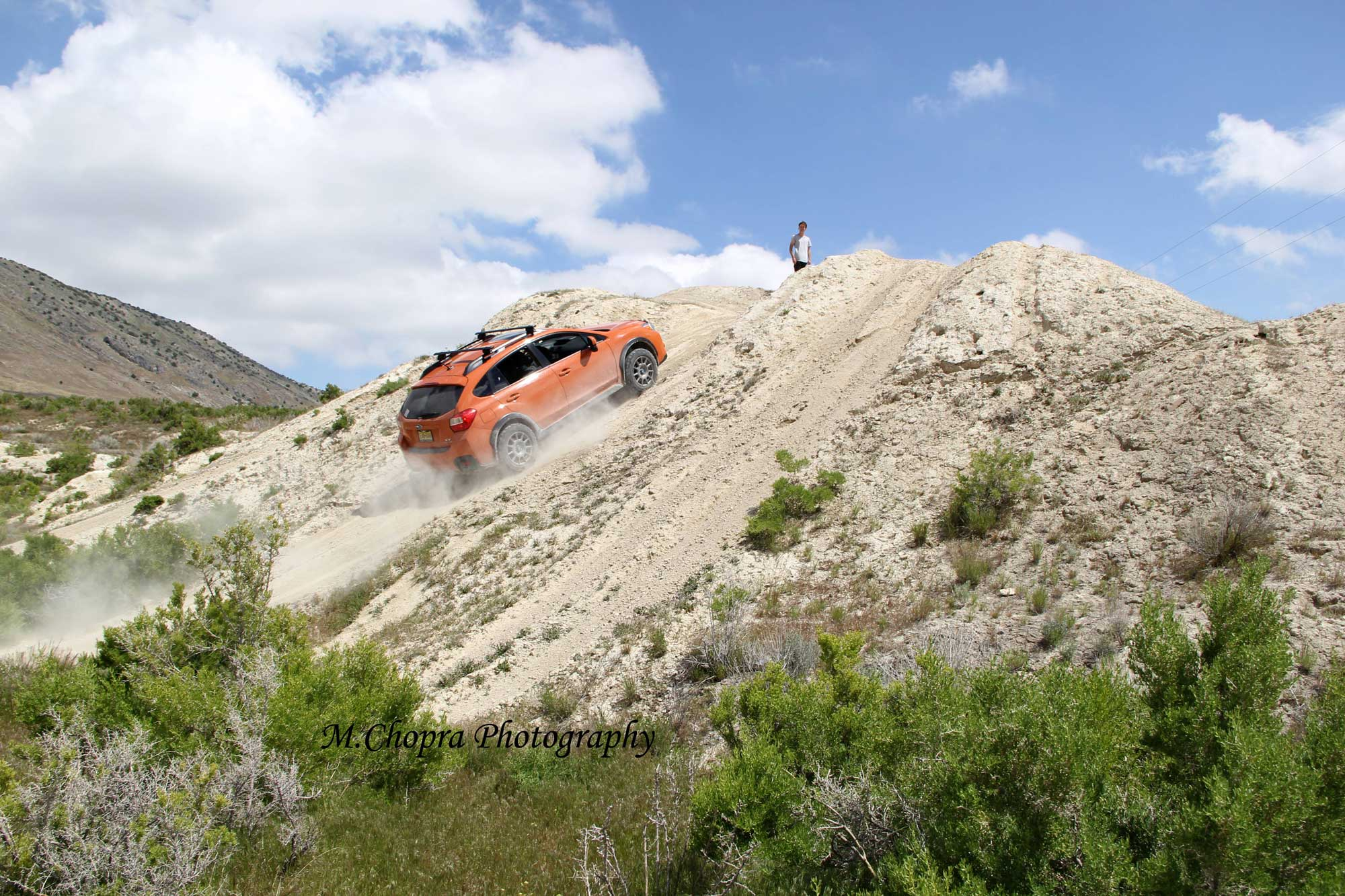 Subaru XV Crosstrek going up a steep hill