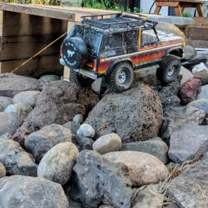Ford Bronco RC crawler in the rocks