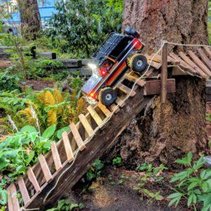 TRX-4 Bronco descending wooden bridge