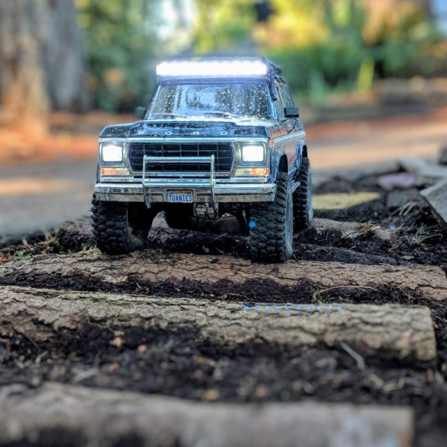 RC Ford Bronco on the logs