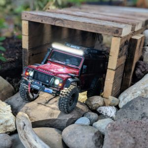 The RC Land Rover coming out of a tunnel