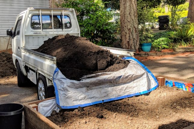 Suzuki Carry with a bed full of dirt