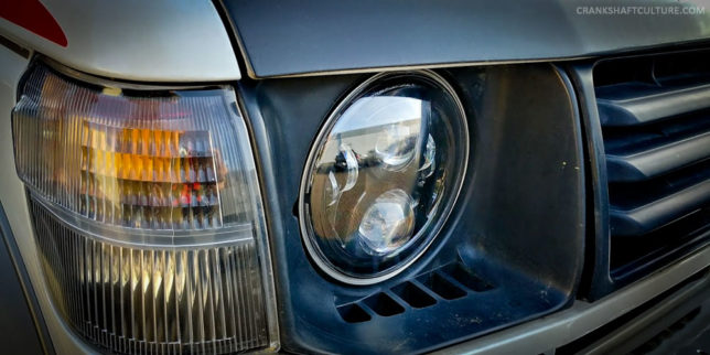 JW SPeaker LED headlight on a Mitsubishi Pajero