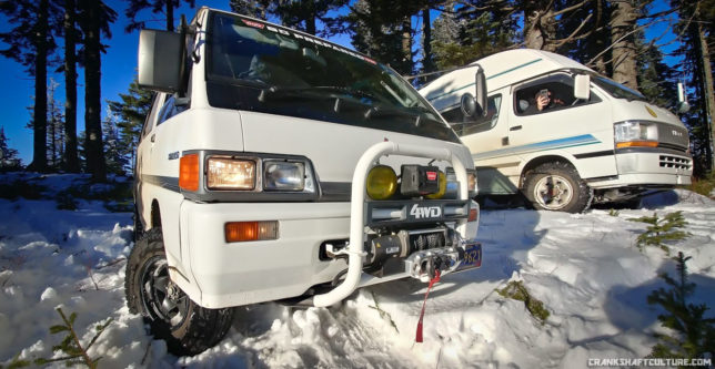 Delica and Hiace vans in the snow