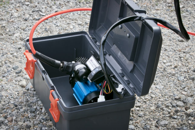 ARB's single portable air compressor comes in a heavy-duty tackle box.