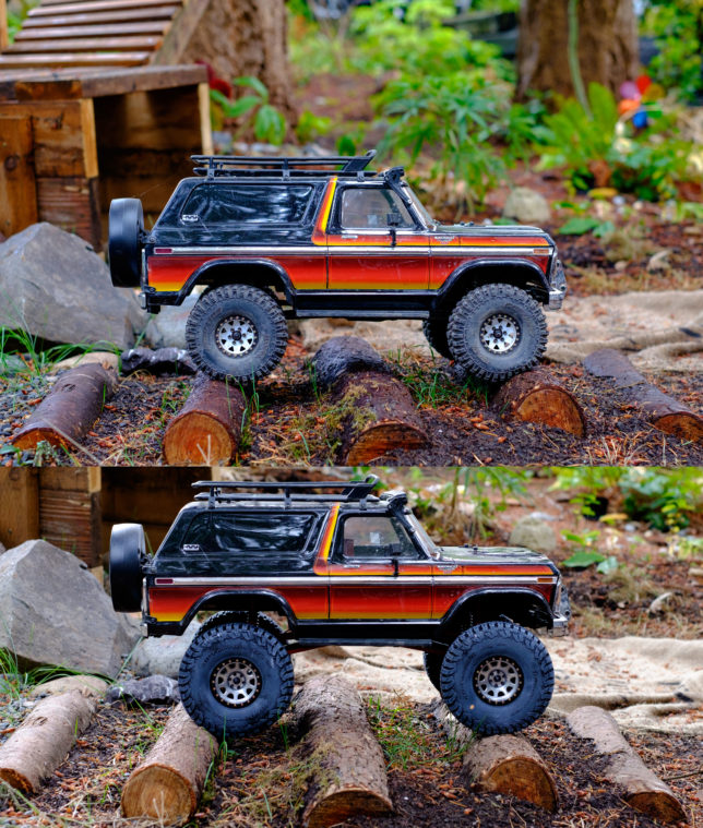 Before lift and after lift on Traxxas TRX-4