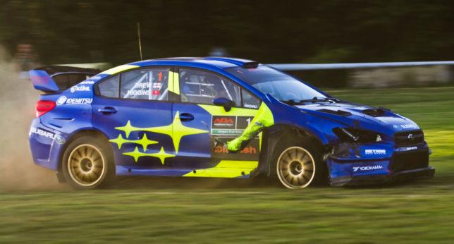 David Higgins damaged rally car
