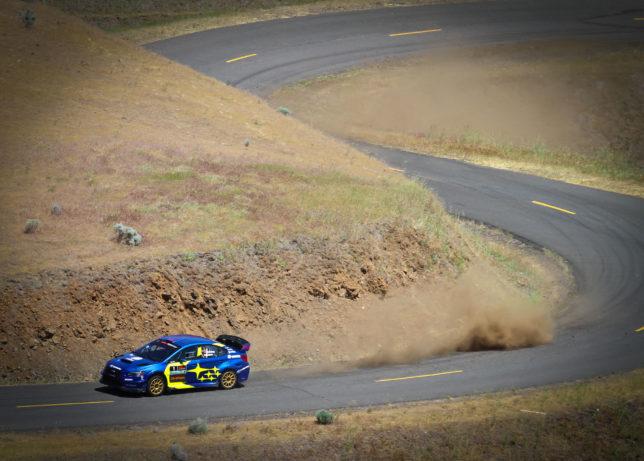 The Subaru team blasting up the Maryhill Curves.