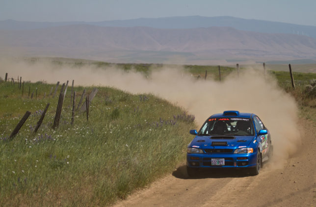 Brody Anderson and Cooper Anderson round the bend in a 1998 Subaru 2.5RS