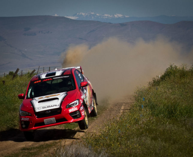 Matthew Dickinson and Daniel Piker coming in for a landing in the 2015 Subaru WRX STi