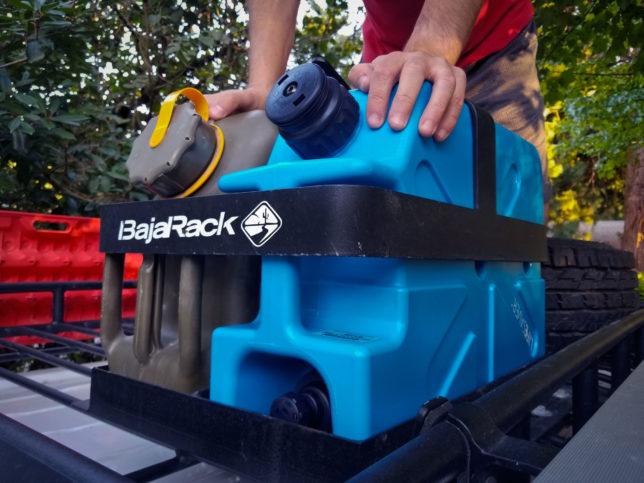 LifeSaver-jerrycan-on-BajaRack-roof-rack