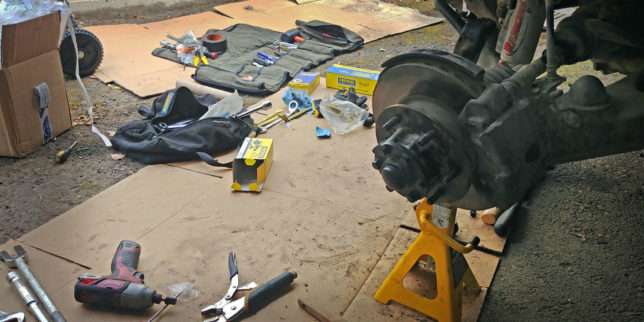 Working on a Pajero