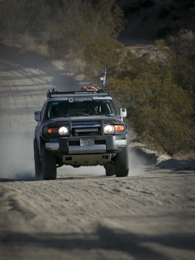 Kathy's customized 2008 FJ Cruiser barrels down this desert road.