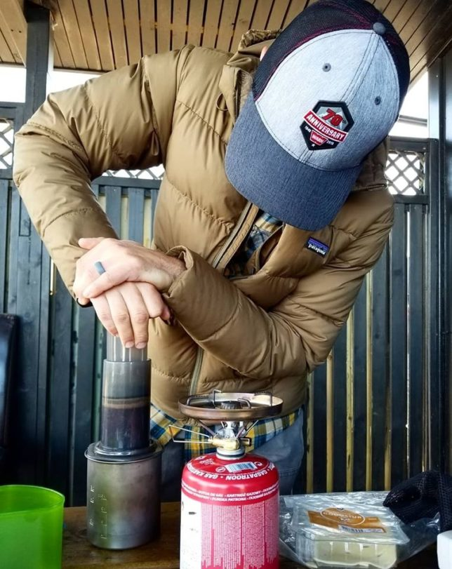 Andy using the AeroPress in Iceland.