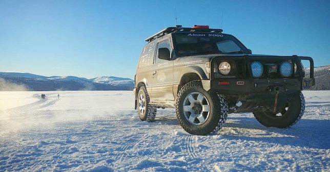 Mitsubishi Pajero on the Alcan 5000 Winter Rally
