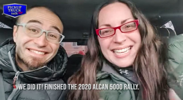 Andy and Mercedes finish the Alcan 5000 Rally