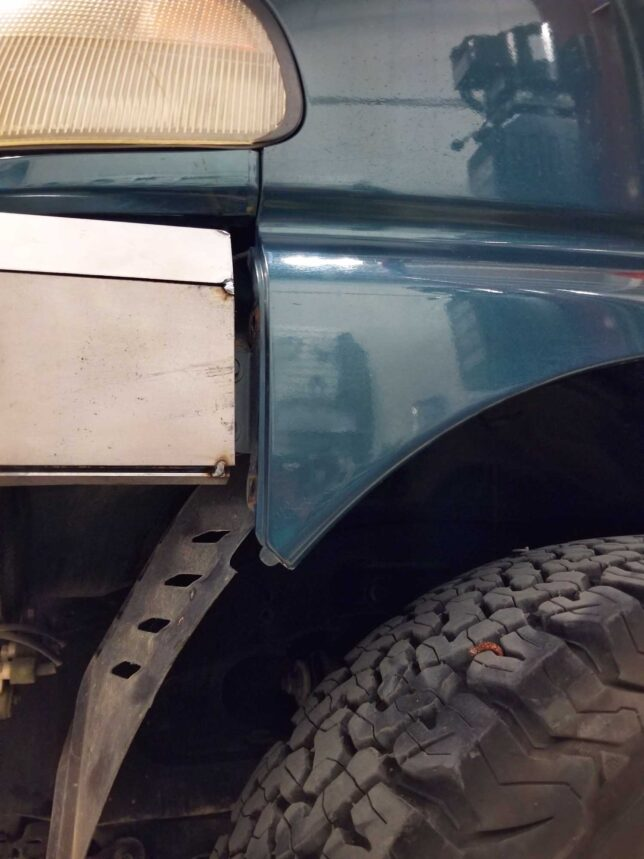 Coastal Offroad front bumper lining up with OE fender