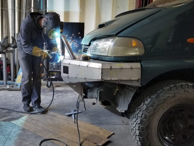 Front bumper welding together