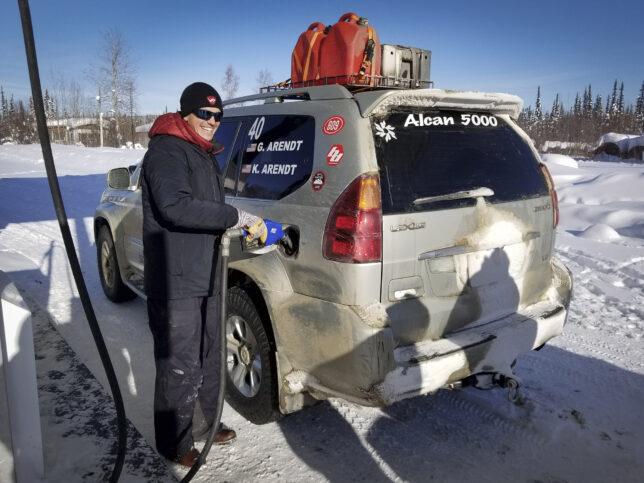 Team 40 Garrett Arendt filling up Lexus