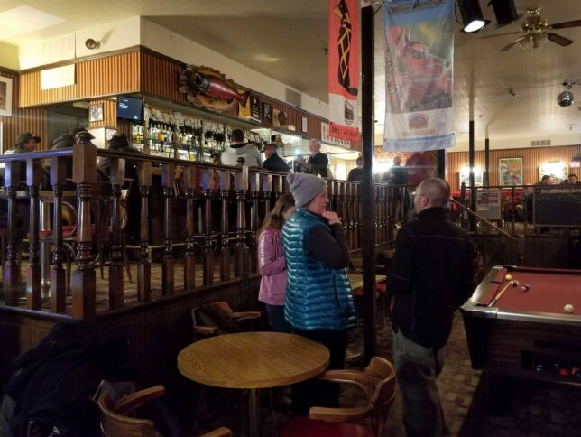 The inside of the Sourdough Saloon in Dawson City, YT Canada.