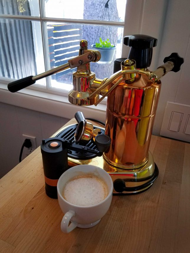 A cappuccino using coffee made using the VSSL Java coffee grinder.