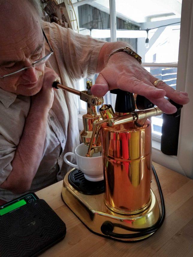 Using a La Pavoni. espresso machine.