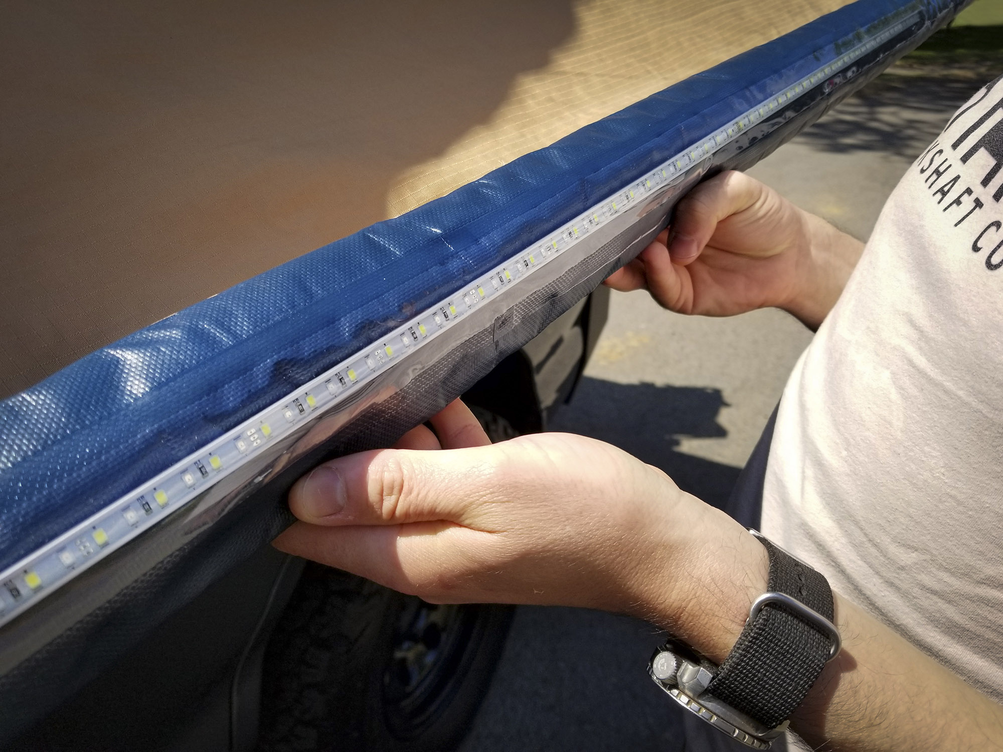 The ARB 2500MM awning has a near side-to-side LED lighting strip