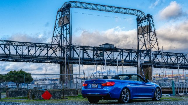 BMW 435i convertible near bridge