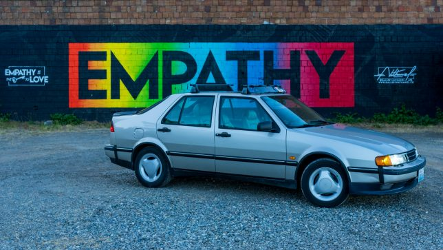 My Saab 9000 in front of the Empathy wall